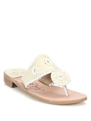 Jack Rogers Palm Beach Leather Thong Sandals Bone White
