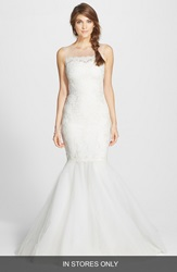 Marchesa Corded Lace And Layered Tulle Mermaid Gown In Stores Only Cream