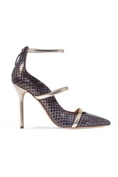 Malone Souliers Metallic Leather Trimmed Elaphe Pumps Navy