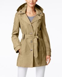 London Fog Snap Button Hooded Trench Coat Driftwood