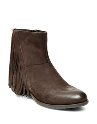 Steve Madden Cassidy Leather Fringe Booties Brown