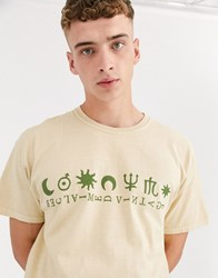 Reclaimed Vintage Oversized T Shirt With Sun And Moon On Overdye Washed Stone Grey