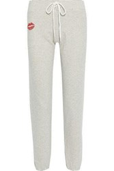 Monrow Woman Printed French Cotton Blend Terry Track Pants Ivory