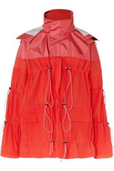 Unravel Project Hooded Ruched Crinkled Shell Jacket Red