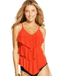 Magicsuit Tiered Ruffle Tankini Top Women's Swimsuit Flamingo Orange