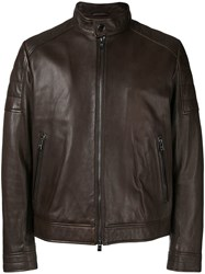 Hugo Boss Fitted Biker Jacket Brown