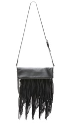 Elizabeth And James Andrew Fringe Fold Over Clutch Black