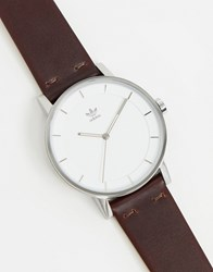 Adidas District L1 Leather Watch In Brown
