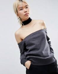 Asos White Off Shoulder Sweat With Velvet Choker Charcoal Grey