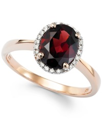 Macy's Garnet 1 9 10 Ct. T.W. And Diamond Accent Oval Ring In 14K Rose Gold