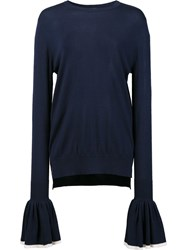 Adam By Adam Lippes Oversized Rib Crew Neck Jumper Blue