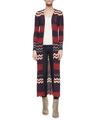 Torn By Ronny Kobo Ronny Kobo Alexi Chevron Stripe Long Cardigan Bordeaux