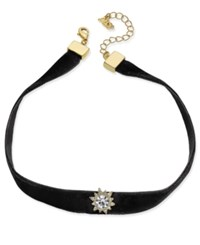 Abs By Allen Schwartz Alan Gold Tone Black Velvet Crystal Choker Necklace