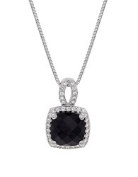 Lord And Taylor Onyx Cubic Zirconia Pendant Necklace Silver Black
