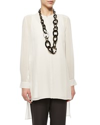 Eileen Fisher Long Sleeve Sheer Silk Long Shirt Bone Ivory Petite Women's