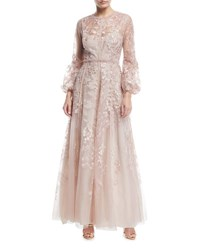 J. Mendel Bishop Sleeve Floral Lace Gown Blush