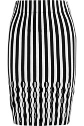 Opening Ceremony Striped Merino Wool Blend Pencil Skirt Black