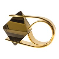 Charlene Court Smoky Quartz Octahedral Ring Dark Brown