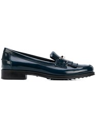 Tod's Double T Fringe Loafers Blue