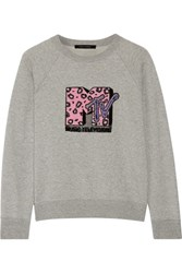 Marc Jacobs Appliqued Cotton Terry Sweatshirt Gray