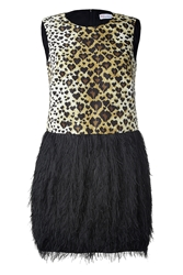 Red Valentino Leopard Print Dress With Faux Fur Skirt