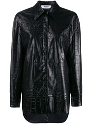 Msgm Crocodile Embossed Faux Leather Shirt 60