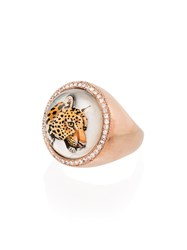 Jacquie Aiche 14Kt Gold Leopard Diamond Embellished Ring 60