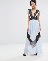 True Decadence Pleated Maxi Dress With Lace Trim Detail Ice Blue Black