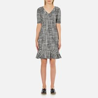 Boutique Moschino Women's Tweed Print Short Sleeve Peplum Dress Black
