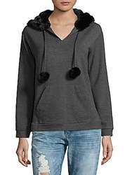 Saks Fifth Avenue Faux Fur Pullover Hoodie Black Charcoal