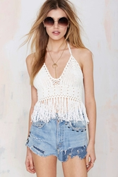 Nasty Gal Glamorous Fringe Benefits Crochet Crop Top