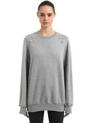 Coliac Deneb Oversized Sweatshirt W Piercings Grey