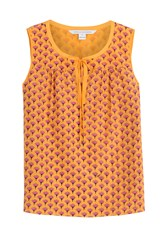 Diane Von Furstenberg Cotton Silk Printed Sleeveless Top Florals
