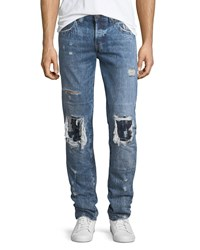 True Religion Rocco Distressed Relaxed Skinny Jeans Eejm Indigo Birch