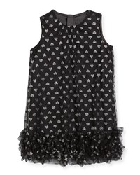 Milly Minis Tessa Embroidered Hearts Tulle Ruffle Trapeze Dress Size 8 16 Black Silver