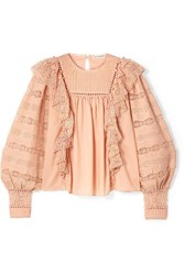Ulla Johnson Lily Ruffled Crochet Trimmed Cotton Voile Blouse Blush