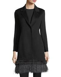 Neiman Marcus Luxury Double Face Cashmere Vest W Fox Fur And Ostrich Feather Trim Black Charcoal