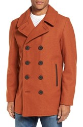 Schott Nyc Men's Slim Fit Wool Blend Peacoat Rust