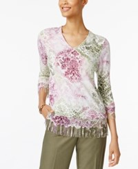 Alfred Dunner Printed Fringe Sweater Multi