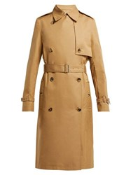 Paco Rabanne Double Breasted Cotton Twill Trench Coat Beige