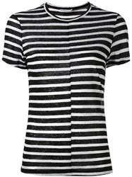 Frame Denim Striped T Shirt Women Linen Flax Xs Black