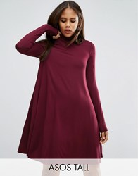 Asos Tall Swing Dress With Polo Neck And Long Sleeves Oxblood Red