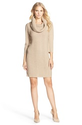 Vince Camuto Cowl Neck Sweater Knit Shift Dress Regular And Petite Oatmeal