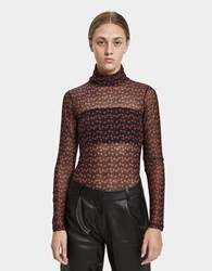 Just Female Alley Roll Neck Mesh Top Tiny Rose
