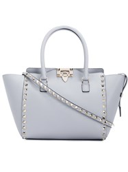 Valentino Garavani Rockstud Trapeze Tote Women Leather Metal Other One Size Grey