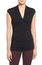 Women's Vince Camuto Side Ruched V Neck Top Rich Black
