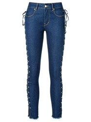 Amapo Side Lace Up Skinny Jeans Women Cotton Polyester 36 Blue