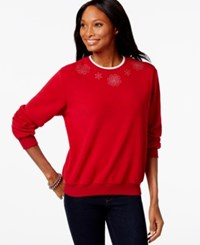 Alfred Dunner Rhinestone Fleece Sweater Only At Macy's