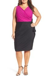 Alex Evenings Plus Size Women's Embellished Side Ruched Colorblock Sheath Dress