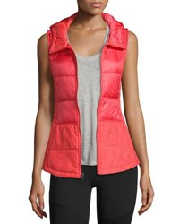 The North Face Pseudio Puffer Hooded Tunic Vest Cayenne Red